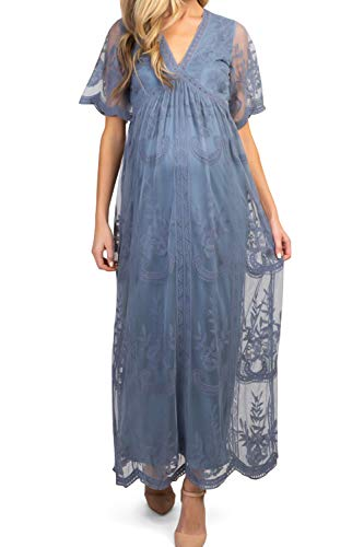 AnxiSiming Women's Lace Mesh Overlay Maternity Gown Dress