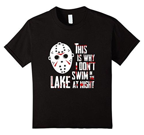[Kids Scary Jason Hockey Mask Movie Halloween Costume T Shirt 10 Black] (Jason Scary Costume)