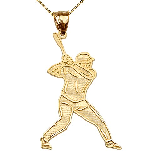 Fine 14k Yellow Gold Baseball Player Sports Pendant Necklace with 22