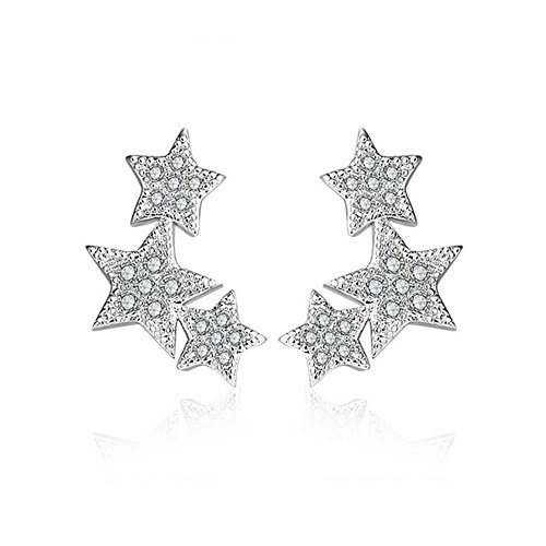 LANMPU Rhodium Plated Sterling Silver Star Stud Earrings with Cubic Zirconia for Women - Online Australian Sunglasses