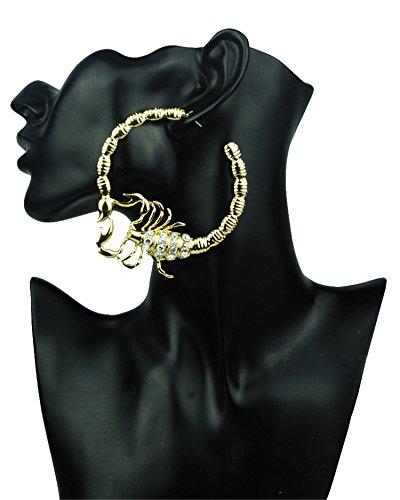 Punk Huggie Scorpion Stripe Crystal Large Big Hoop Circle Ear Earrings