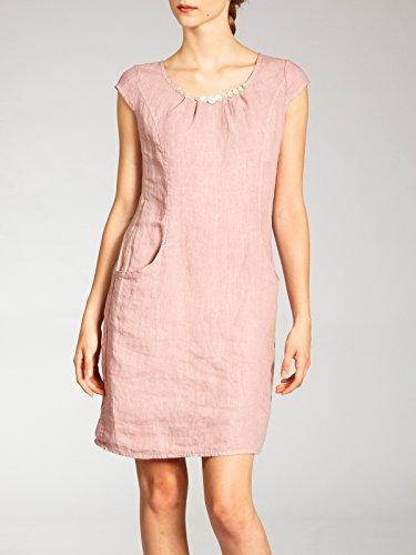 Dress decorativi rosa con Woman Fashion Caspar Linen For Short bottoni Skl018 Summer nI88BxvP