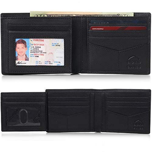 Alpine Swiss RFID Mens Wallet Deluxe Capacity Hybrid Flipout ID Bifold With Divided Bill Section
