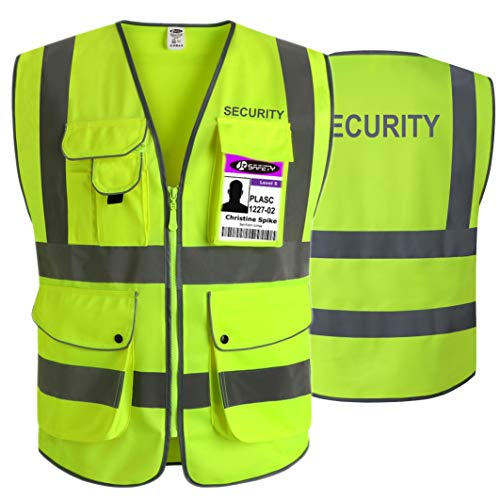 JKSafety 9 Pockets Security Vest (Ver 2) Yellow Zipper Front Safety Vest with Highly Reflective Strips, ANSI/ISEA 107-2015 Class 2 (Yellow-Security, 3X-Large)