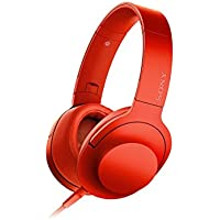 SONY h.ear Sealed Headphone High resolution sound. Remote control with Microphone folding Cinanabar Red MDR-100A / R