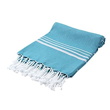 Cacala Pestemal Turkish Bath Towels Striped Bath Beach Sauna Luxury Peshtemal 37x70  Aqua