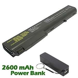 Battpit Bateria de repuesto para portátiles HP NC8230 - HP (4400mah / 65wh) con 2600mAh Banco de energía / batería externa (negro) para Smartphone