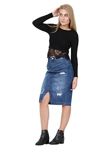 irt Destroyed denim with front V Split (Avenue Denim Skirt)