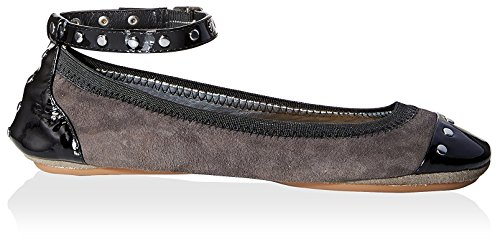 Abbey Yosi Ankle Dark with Strap Women's Black Ballet Flat Samra Grey EUUgwq