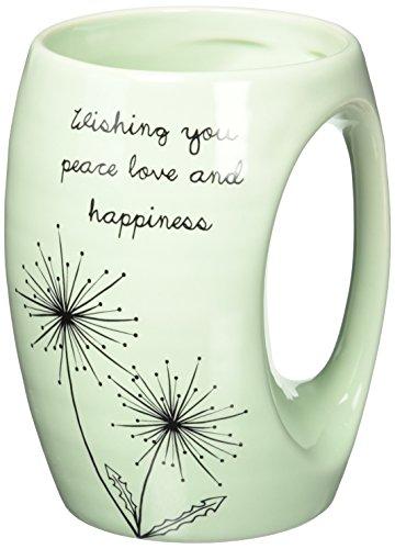 Pavilion Gift Company 77101 Dandelion Wishes Wishing You Peace Love and Happiness Ceramic Hand Warmer Mug, Green