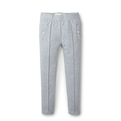 Hope & Henry Girls' Grey Pintuck Ponte Pant Made with Organic Cotton Size 10 by Hope & Henry