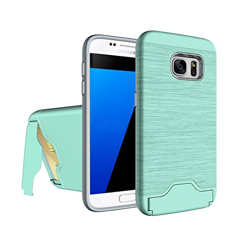 Zutoben Galaxy S7 Case Wire Drawing Shockproof Armor Card Slot Holder Samsung S7 Protective Shell Kickstand (Green)