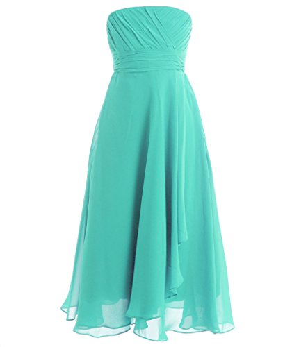Fairy Couple Girl's Strapless Chiffon Pageant Dress Flower Girl Dress K0120 10 Light Turquoise (Green Fairy Dress)