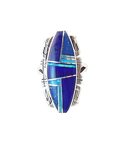 Silver Lapis Boulder Opal Inlay Ring Size 5