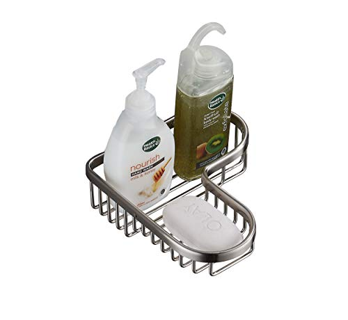 SANLIV Solid Brass Corner Shower Soap Basket - Wire Shower Caddy for Hotel Bathrooms in Brushed Nickel Finish