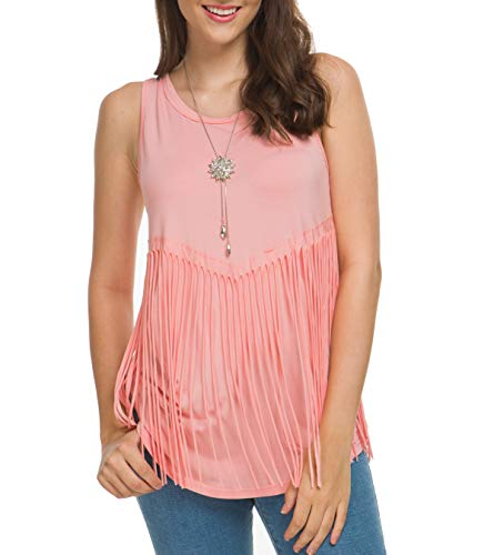 Fringe Sleeveless - Mingriya Women's Sleeveless T-Shirts Round Neck Casual Fringe Tank Tops (Pink, X-Large)