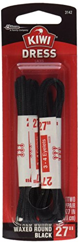 Kiwi Shoe laces, 27 in, wax black, 1 ct