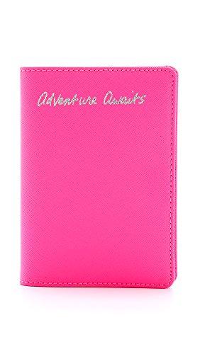 Rebecca Minkoff Passport Holder Adventure Awaits Commuter Pass Case, Electric Pink, One Size