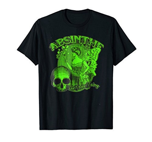 Absinthe Skull T-shirt Green Fairy Retro Shirt