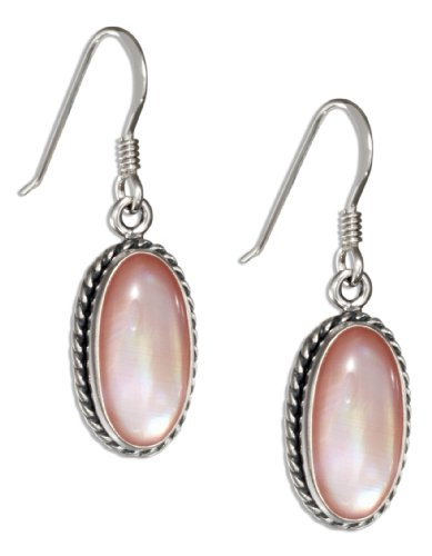 Oval Pink Shell Earrings - Sterling Silver Oval Pink Shell Earrings with Rope Border