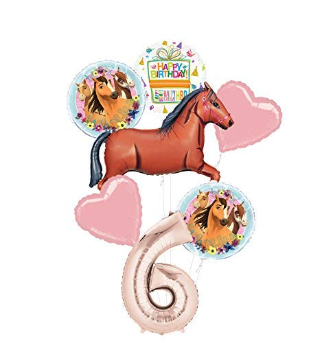 Mayflower Products Spirit Riding Free Party Supplies 6th Birthday Brown Horse Balloon Bouquet Decorations