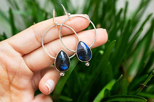 aura protector earrings Blue flash Labradorite 925 silver drop stud earrings