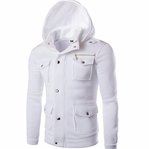 Forthery Men's Long sleeve Zip-Up Casual Fleece Hoodie Coat Sweatshirt Jacket (Tag XL= US L, White)