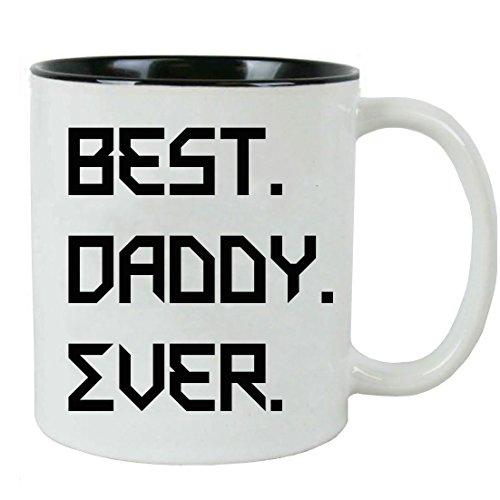 Best. Daddy. Ever. White Ceramic Coffee Mug (Black) with White Gift Box