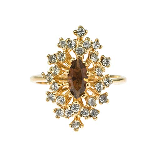 (Providence Vintage Jewelry Smoky Topaz & Clear Swarovski Crystal 18k Gold Plated Cocktail Ring)