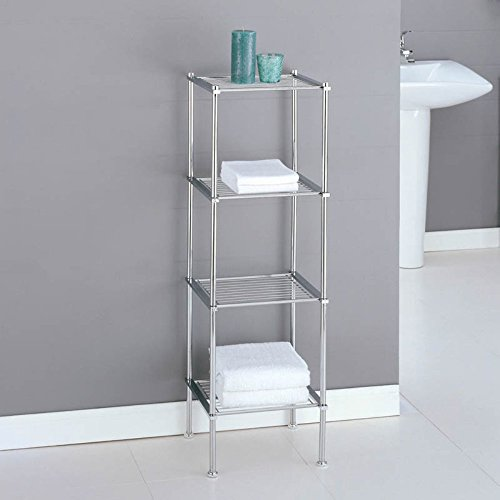 well-wreapped Chrome Storage 3 Tier Tower Bathroom Storage Shelves, Interior Decorating
