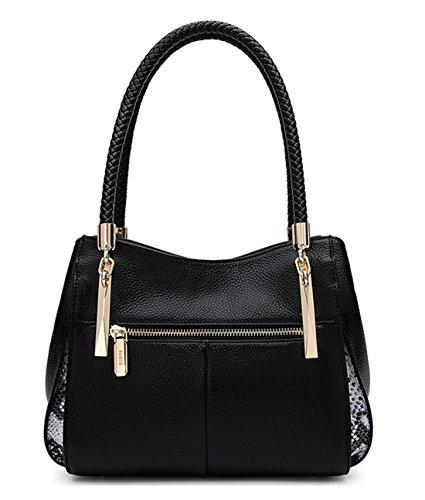 Mujer y hombro bolsos Shoppers SAIERLONG Capa Negro Negro de De Nueva La Primera Cuero Hwx57xgqz