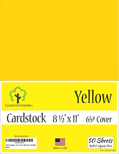 Yellow Cardstock - 8.5 x 11 inch - 65Lb Cover - 50 Sheets
