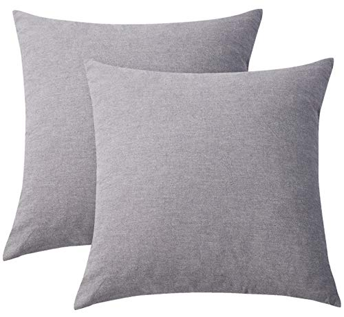 PHF Cotton Euro Sham Cover Yarn Dyed Throw Pillow Cover Solid Pack of 2 26