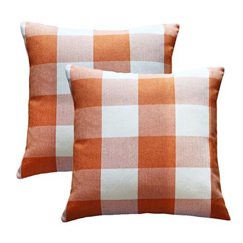 Wencal Buffalo Tartan Check Plaid Throw Pillow Case Farmhouse Cushion Cover Orange 18 x 18 Inch Pack of - Orange Buffalo