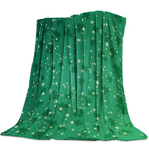 - Irish St. Patrick's Day Throw Blankets Bling and Lucky Shamrocks Leaves Fuzzy Soft Bed Cover Bedspread Microfiber Luxury Blanket for Travel Stadium Camping Couch Sofa Chair 50x60inch