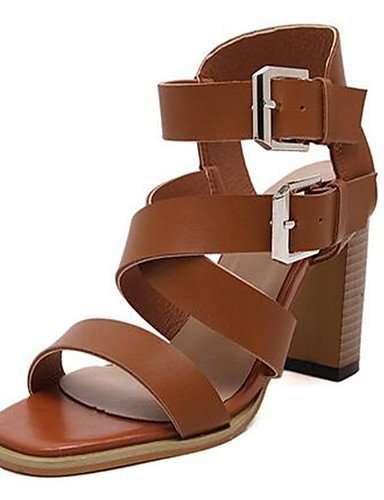 Marr¨®n Cn38 Mujer 5 tacones tac¨®n Uk5 Eu39 casual Cn39 De Uk6 us8 Robusto pu Eu38 Brown us7 Zapatos negro Brown tacones Zq 5 AwFxEvqA