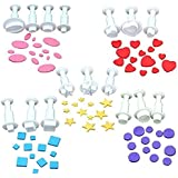 Cookie Cutters,Plunger Cutter Cake Decorating Supplies Fondant Molds,16 Pcs,Heart/Square/Oval/Circular/Star,White,Dadam