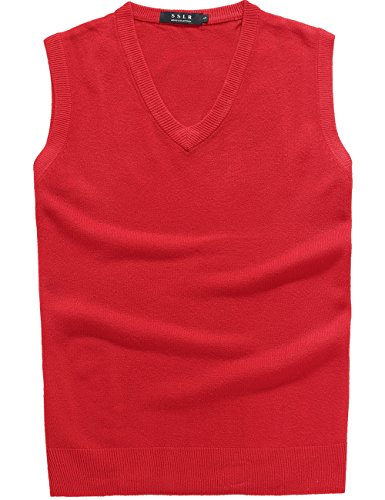 Col Gilet Sslr Sans Regular Pull Fit Casual Manche Rouge V Homme Vin aaq6xrY