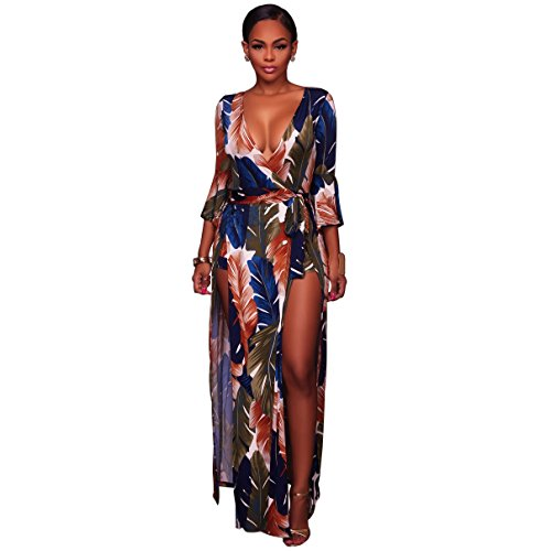 New Womens Long Shorts (Women's Stretch Long Sleeve V Neck Feather Print Long Maxi Dress Overlay Rompers Jumpsuit Blue, Medium)