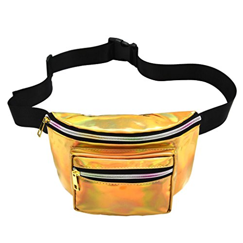Silver as Bag Shiny Gold Casual Pack Women Men Pack described Bum Waist Homyl Fashion Fanny Adjustable RqUa76