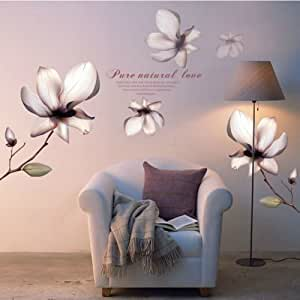 Flower wall stickers magnolia flowers wall for Decorate with flowers amazon