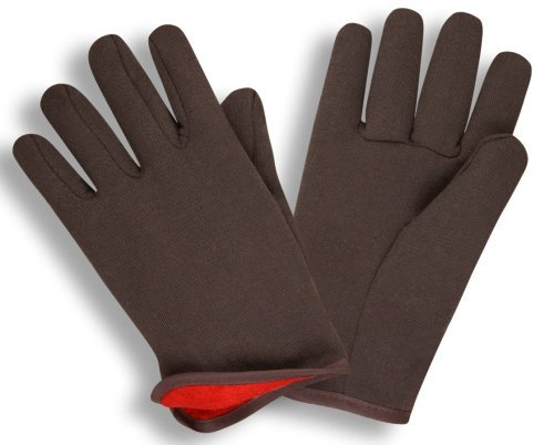 (GF Gloves 4414-144 Brown Jersey Winter Work Gloves with Red Fleece Lining, Large, (case of 144 Pairs) )