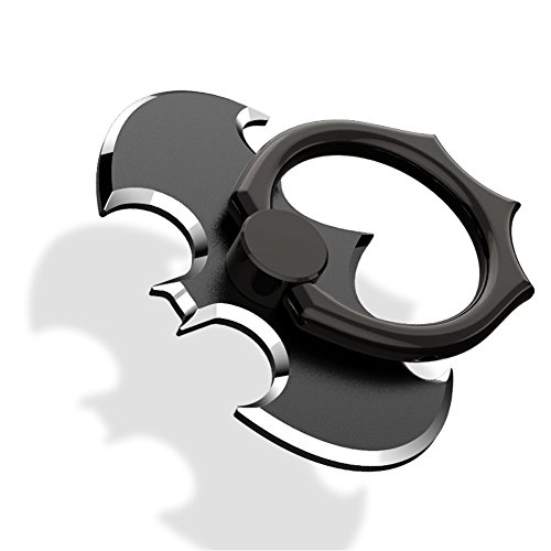 HaloVa Phone Ring Holder, Batman Universal 360° Rotation Cellphone Metal Stand Finger Grip Kickstand, Anti-Drop Finger Holder Mount for iPhone, iPad, Samsung HTC Nokia Smartphones, Tablet, Black