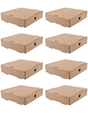 Cabilock 25pcs Kraft Corrugated Pizza Boxes Takeaway Cardboard Boxes Take Out Food Containers Lock Corner Bakery Packing Boxes for Mini Pizza Pie Cake Cookies Food 6inch Khaki