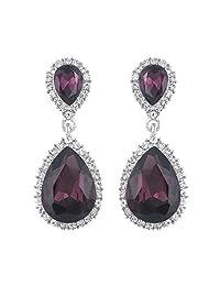 Ever Faith Silver-Tone Austrian Crystal Elegant Teardrop Dangle Earrings Clear N04417-1