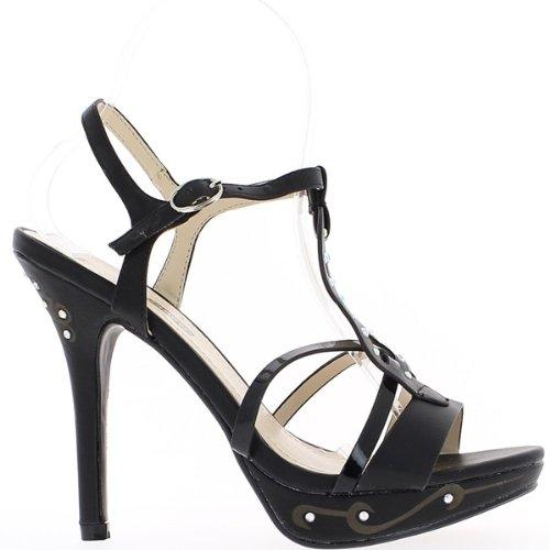 5cm E Piattaforma Con Neri La Strass 3 Sandali Centimetri Tacco 12 tfwHIxxpq