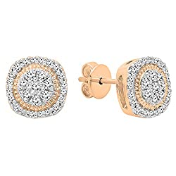 Gold Round White Diamond Ladies Cluster Studs