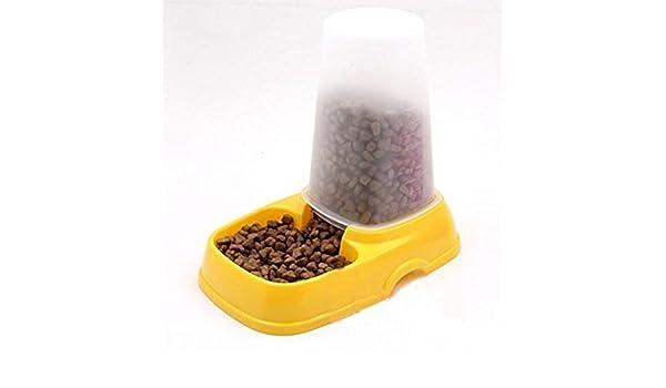 komener mascota perro gato agua alimentación Dispensador Automático plato cuenco alimentador (amarillo): Amazon.es: Hogar