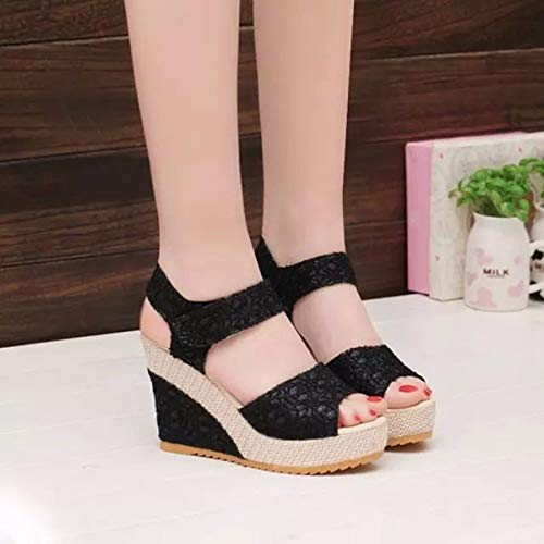10Cm Girls Forty Fashionable Belt Muffin Thick Bottomed Buckle Resistant Heel Sandals Women'S Summer Sloping Black Flat Single Shoes KPHY Skid Bottomed wqHUgxIT