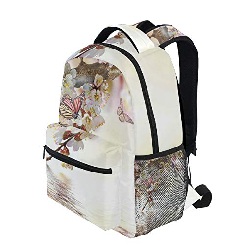 KVMV Natural Floral Japanese Style Garden Cherry Blossom Sakura Tree Butterfly Lightweight School Backpack Students College Bag Travel Hiking Camping Bags ()